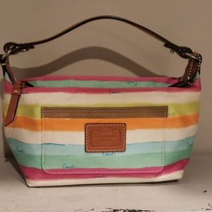 Coach white canvas bag with multi colored stripes